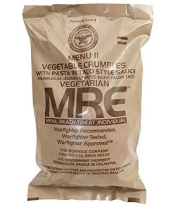 Vegetable Crumbles with Pasta in Taco Style Sauce - Meals Ready To Eat US Military MREs - Menu 11
