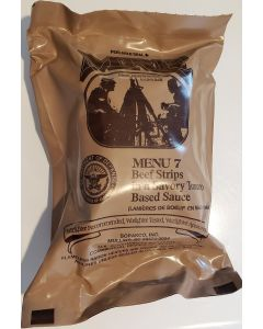 Beef Strips in Tomato Sauce - Meals Ready To Eat US Military MREs - Menu 7