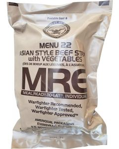 Asian Style Beef Strips with Vegetables - Meals Ready To Eat US Military MREs - Menu 22